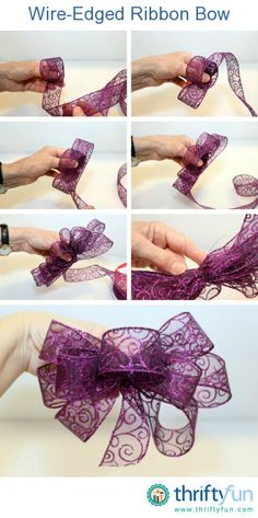 This is a guide about making a wire-edged ribbon bow. Fashioning your own accessories or package adornments can be fun with this stiffened ribbon.