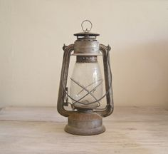 Antique Lantern Lamp, Vintage rusted Railroad Lamp. $62.00, via Etsy.