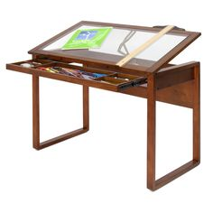 Studio Designs Ponderosa Glass-topped Solid Wood Drafting Table   Overstock™ Shopping - The Best Prices on Drafting Tables