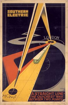 """ein-bleistift-und-radiergummi: """"Vintage Travel Poster Design by Patrick Cokayne Keely 'Southern Electric - A Straight Line-The Quickest Way Between Two Points' """" Retro Poster, Poster Ads, Advertising Poster, Rugby Poster, Train Posters, Railway Posters, Art Nouveau, Vintage Advertisements, Vintage Ads"""