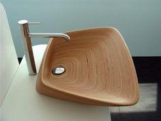 holzwaschbecken badezimmer gestalten holzoberfläche modern