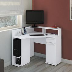 The white computer desk is a good idea when you want to have a special working space with am awesome property. It is very nice for modern working space decor. Home Office Furniture, Furniture Design, Computer Desk Design, Computer Tables, Study Table Designs, Modern Desk, Design Moderne, House Design, Home Decor