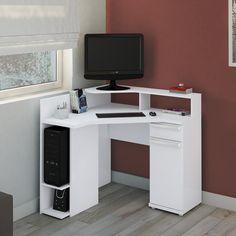 Compre Escrivaninha de Canto para Computador S975 Branco - Kappesberg em Promoção com ✓ Até 12x ✓ Fretinho