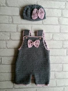 pink and grey baby crochet dungarees More