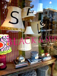 cute SALE sign made with lampshades!