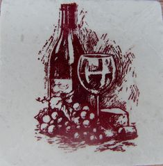 Wine Inspired Tumbled Marble Tile Coaster by CircleOakTreasures on Etsy