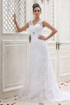#AdoreWe #DressWe Womens - Designer DressWe Vintage V-neck Court Plus Size Lace Talines Wedding Dress - AdoreWe.com