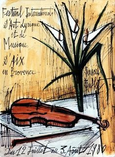 Bernard Buffet - Arums et violon - 1979, mixed media on paper - 43 x 32.5 cm
