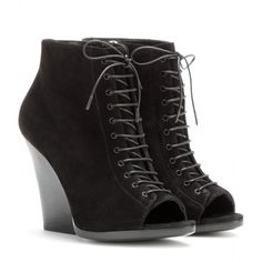 Burberry Prorsum Virginia Open-Toe Suede Ankle Boots ($500) ❤ liked on Polyvore featuring shoes, boots, ankle booties, heels, sapatos, wedges, black, black heel booties, black open toe booties and black wedge booties