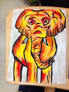 Diy elephant painted canvas