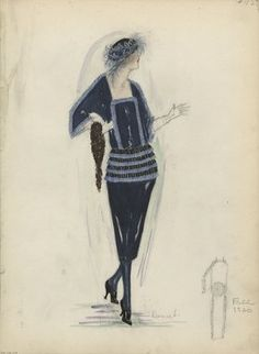 """""""Day Dress, Doucet, Fall 1920.  Dark blue dress; knee-length straight skirt with a possible ruffled peplum in light blue and black; bodice with three-quarter length dolman sleeves, square neck, a row or light blue ruffles outlines sleeves and front of bodice; black beret with light blue feathers. (Bendel Collection, HB 038-37)"""", 1920. Fashion sketch. Brooklyn Museum, Fashion sketches. (Photo: Brooklyn Museum, SC01.1_Bendel_Collection_HB_038-37_1920_Doucet_SL5.jpg)"""