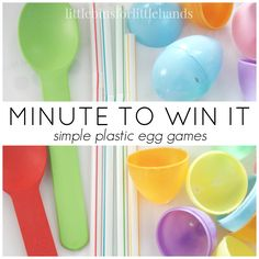 Quick and easy Minute To Win It Easter Games for fun and fine motor play! Simple and inexpensive Minute To Win It Easter Games for kids an Adults.