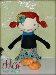 Third Street original cloth doll.  Blanch collection.  Custom made doll. www.thirdst.blogspot.com