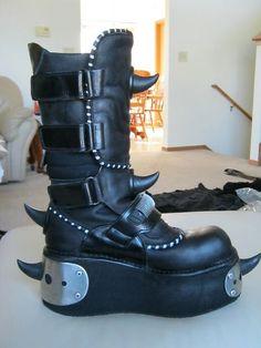 New Rock Galaxia Horn Boots Cybergoth Goth Punk Cyber Cyberdog SDL