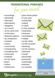 Transitional Phrases for Emails – Professional Office İdeas English Vocabulary Words, Learn English Words, English Phrases, English Grammar, English Tips, English Lessons, Writing Words, Writing Tips, Business Writing Skills