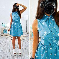 Джинсовое платье без рукава Крестик MR 61457