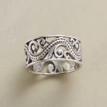 Our oxidized sterling silver swirl ring is a whirlwind of unique style.