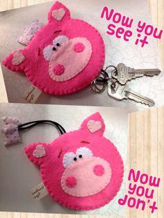 Felt piggy key pouch