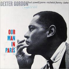 "Cover for Dexter Gordon's ""Our Man in Paris"" by Francis Wolff (photo) & Reid Miles (design), 1963"