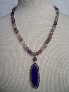Beaded Bohemian Fluorite & Purple Agate Slice Sterling Silver Necklace