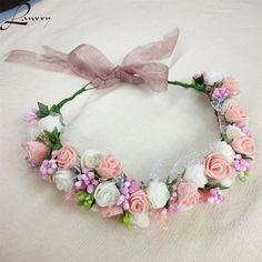 Lanxxy New Women Wedding Bridal Hair Bands Flowers Hair Accessories Floral Crown Girls Summer Outdoor Headwear Fashion Headband