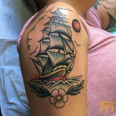Ship Tattoo by Luke Smith from TRADE MARK Tattoo Durban South Africa