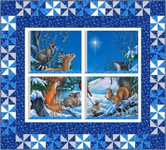 Woodland Winter Quilt Kit: This charming quilt features a digitally printed center panel from the Woodland Winter collection by Elaine Maier for Northcott Studios. Kit includes Glenda Spencer's Window View pattern from Northcott, as well as fabrics for the top and binding.