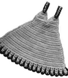 Crochet Slip Potholder in the shape of an old fashioned dress slip.