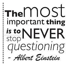 """""""The most important thing is to never stop questioning."""" -- Albert Einstein"""