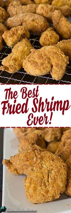 The Best Fried Shrimp EVER! via Michelle Varga (Dishes and Dust Bunnies) Fried Shrimp Recipes, Shrimp Dishes, Fish Recipes, Seafood Recipes, Onion Recipes, Cookbook Recipes, Cooking Recipes, Good Food, Yummy Food