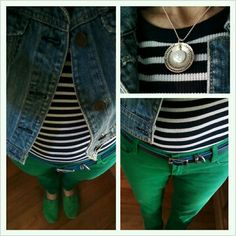 Denim jacket, navy stripes, green skinny jeans, and green Toms