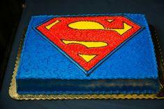 Wedding photo Grooms cake, superman grooms cake