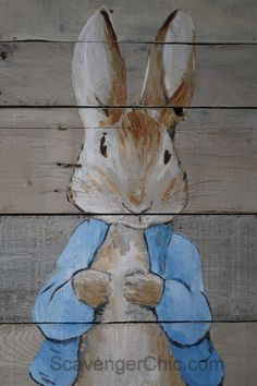 Wood Pallet Projects Hand Painted Peter Rabbit on Pallet Wood Pallet Painting, Pallet Art, Painting On Wood, Pallet Ideas, Pallet Projects, Art Projects, Wood Paintings, Bunny Painting, Spring Painting