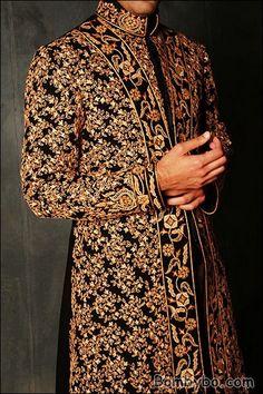 indian groom black gold sherwani For Indian wedding inspiration see www. Wedding Men, Wedding Groom, Wedding Suits, Farm Wedding, Wedding Attire, Wedding Couples, Gold Wedding, Bride Groom, Wedding Reception