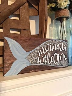 Mermaid Home Decor Hand Painted Sign.
