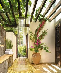 Pergola is usually found in any wedding parties. But it is also possible to make as outdoor decoration. Pergola trellis is one of big ideas to improve your ordinary terrace. It is functional for relaxing space in front of your… Continue Reading → Outdoor Decor, Pool Decor, Garden Design, Diy Outdoor, Outdoor Bathrooms, Outdoor Shower, Outdoor Bathroom Design, Outside Showers, Outdoor Lighting