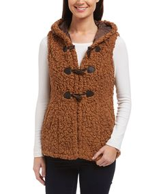 GO COCO Light Brown Toggle Hooded Vest | zulily
