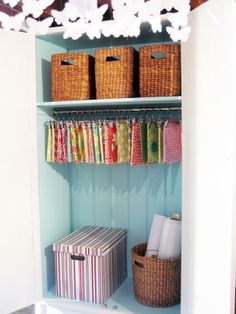 organizing fabric @Mom.  eclectic home office by Ish and Chi