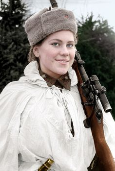 Sniper Sergeant Roza Georgiyevna Shanina (1924-1945) Hero of the Soviet Union KIA Jan 27, 1945 by German artillery fire. At her death, her all-female sniper platoon of 78 women, was down to only six.