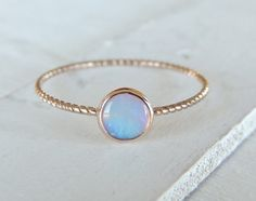Opal Ring, Opal Gold Ring, Glowing Opal Ring, 14k Gold Ring, Nautical Ring, Stacking Ring, Rose Gold Ring, Christmas Gift, Engagement Ring  A stunning