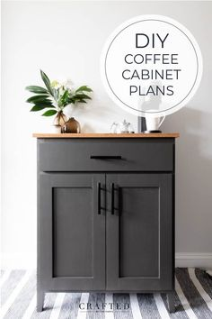 Reclaim your kitchen counterspace! Build your own coffee bar cabinet to hold all of your coffee-making essentials. These step-by-step plans will show you exactly how to make a DIY coffee cabinet. Cut list and detailed plans provided. #diycabinet #coffeecabinet Diy Furniture Tutorials, Diy Furniture Plans, Diy Projects, Weekend Projects, Handmade Furniture, Project Ideas, Cool Woodworking Projects, Diy Woodworking, Home Renovation