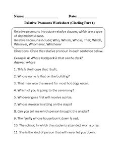 Relative pronouns introduce relative clauses, which are a type of dependent clause. English Pronouns, English Worksheets For Kids, English Idioms, Relative Clauses, Relative Pronouns, Adverbs Worksheet, Parts Of Speech Worksheets, 5th Grade Writing, Writing Anchor Charts
