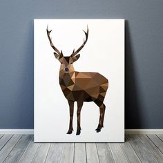 Beautiful stag print. Nice animal art. Geometric deer poster. Lovely colorful decor. Available in two sizes: A4 (8.2x11) and A3 (11.6x16.5). Will