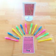 Lernwörterübungen / Stationen für den Rechtschreibunterricht in der Grundschule: Zauberstift mit UV-Licht