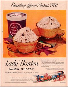 Lady Borden Black Walnut Ice Cream Vintage Ad from 1953 - Elsie's Good Food Railroad Line Illustration