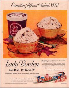 Lady Borden Black Walnut Ice Cream Vintage Ad from 1953 - Elsie's Good Food Railroad Line Illustration