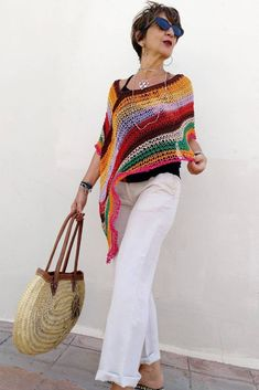Multicolored boho poncho, vegan cotton poncho, hippie chic knit poncho, beach cover up, women knit poncho. Hippie Chic, Boho Chic, Hippie Masa, Modern Hippie, Bohemian Gypsy, Gypsy Style, Hippie Style, Poncho Au Crochet, Crochet Lace