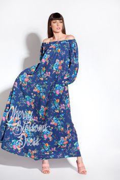 Blue Maxi Dress/ Floral Maxi dress/ Off the shoulders dress/