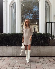 Find out ways how to make your tall boots look trendy again. I will show you inspiring street style ideas of women wearing tall boots. Tall Boots Outfit, Winter Boots Outfits, Winter Fashion Outfits, Autumn Winter Fashion, Fall Outfits, Emo Fashion, Fashion Fashion, Fashion Ideas, Classy Outfits