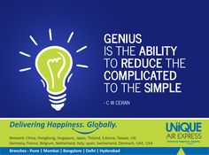#GENIUS is the ABILITY to REDUCE the COMPLICATED to the SIMPLE. Have a Happy #Monday ! #MotivationalMonday #Thoughtoftheday